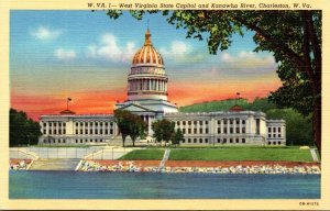 West Virginia Charleston State Capitol Building and Kanawha River 1945 Curteich