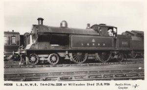 L & NWR Train at Willesden Shed in 1926 Real Photo Postcard