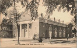 Keene New Hampshire~Spaulding Gymnasium~Man on Sidewalk~1930s Sepia Litho PC