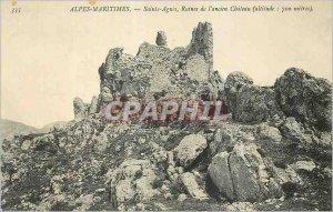 Old Postcard Alpes Maritimes Sainte Agnes Ruins of the Old Chateau (Altitude ...