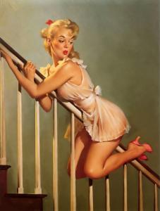 Blonde Pin Up, Going Down?  REPRO Retro Vintage Postcard Z110302