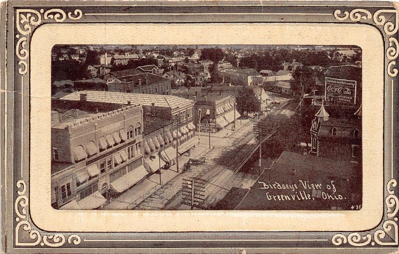 F28/ Greenville Ohio Postcard c1910 Birdseye View Fancy Border