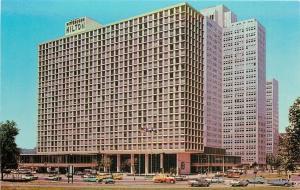Pittsburgh Pennsylvania~The Pittsburgh Hilton~1950s Cars~City Bus~Tow Truck