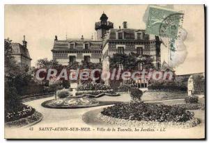Postcard Old Saint Aubin sur mer Villa La Tourelle gardens
