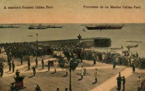 MARINE'S FUNERAL CALLAO PERU 1919 ANTIQUE POSTCARD w/ STAMP