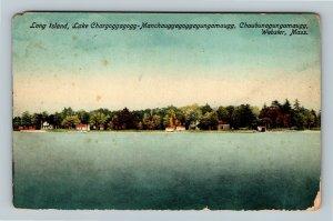 Webster MA, Long Island, Scenic Lake View, Vintage Massachusetts Postcard