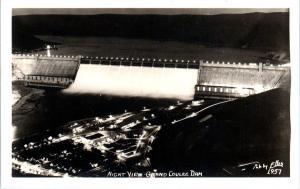RPPC COULEE DAM, WA Washington  NIGHT View of DAM  c1940s Ellis  #1957  Postcard