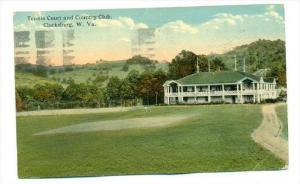 Tennis Court & Country Club, Clarksburg, West Virginia, PU-1925