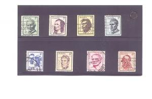 Eight Different Used Australia Famous People Stamp