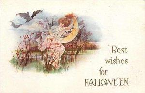 Halloween, Gibson No GIB13-10, Fairy Running from Bats Holding a Moon Face