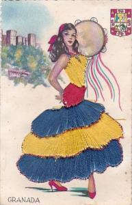 Embroidered Granada Spain Dancer In Local Costume
