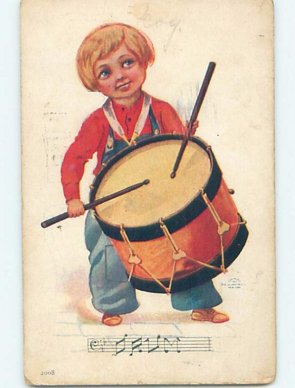 Pre-Linen FANTASTIC LARGE VIEW OF BOY PLAYING DRUM MUSIC HL5508