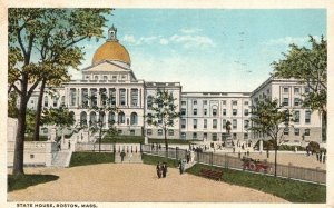 Vintage Postcard 1917 State House Most Conspicuous Building Boston Massachusetts
