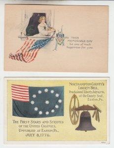 P2093, 2 old patriotic postcard usa flags colonies & memorable day unused
