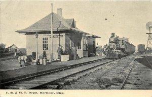 H11/ Harmony Minnesota Postcard c1910 CM&STP Railroad Depot Locomotive
