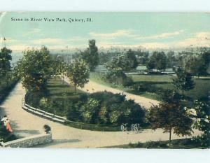 Divided-Back RIVER VIEW PARK SCENE Quincy Illinois IL r8142