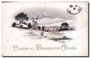 Old Postcard Happy Valentine Fancy Windmill