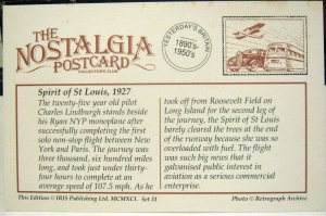 Postcard Historical Events Spirit of St Louis 1927 Repro - unposted