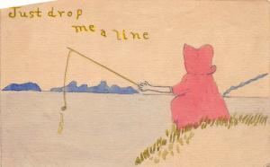 B82/ Art Hand-Drawn Postcard Artistic Original c1920 Girl Fishing Line 4