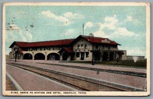 Postcard Amarillo TX c1921 Fred Harvey Santa Fe Station and Hotel Railroad Depot