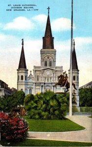 Louisiana New Orleans Jackson Square St Louis Cathedral 1945 Curteich
