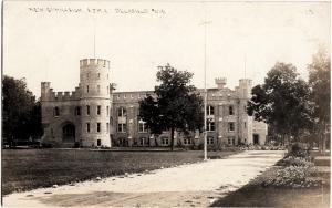 pr1918 DELAFIELD Wisconsin WI Real Photo RPPC Postcard NEW GYMNASIUM Military Ac