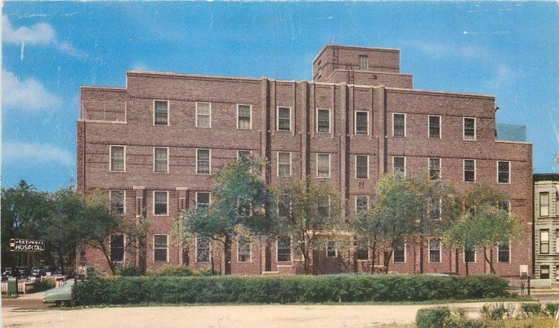 Chicago IL~Bethany Hospital~Van Buren Street~Advertising Back~1930s Postcard