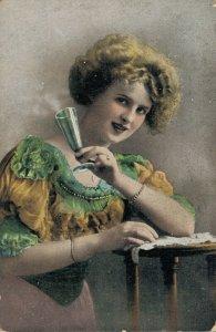 Victorian Beautiful Woman Drinking Wine Vintage Postcard 06.70