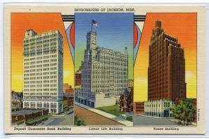 Skyscrapers Deposit Guarantee Bank Life Tower Jackson Mississippi postcard