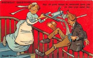 F92/ Artist Signed Postcard c1910 Donald McGill Comic Maid Spill 3