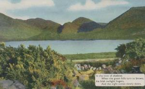 An Irish Ireland Twilight Vintage Poetry Poem Mountain View Postcard