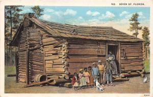 D97/ Black Americana Postcard 1927 Seven Up Log Cabin Dog Kids 1