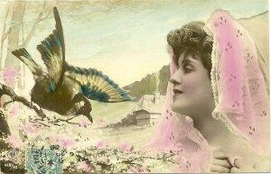 RP: Art Nouveau ; Woman & Bird , 1904 ; A. G. STEGLITZ