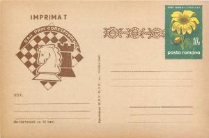 Chess by mail correspondence 1960s post card Romania uprated flower stamp
