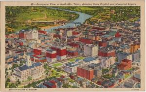 NASHVILLE TN - AIRPLANE view of the CAPITOL and MEMORIAL SQUARE, 1940s era