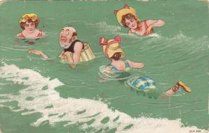 Nervous bald man floating in water with three beautiful girls swimming, Bonne...