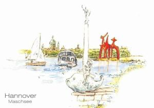 Hannover Maschsee Hafen Schiff Boats Statue Lake Lac