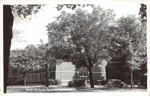 Grand Ledge Michigan~High School Building~30s & 40s Cars in Front~1952 RPPC