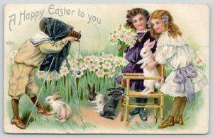 Victorian Easter~Photo Shoot~Little Girls w/ Rabbits~Boy Box Camera & Hood~TUCK