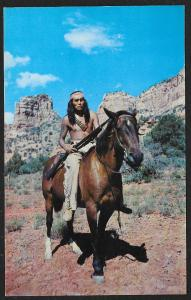 Apache Riding Bareback on Horse Arizona Unused c1950s