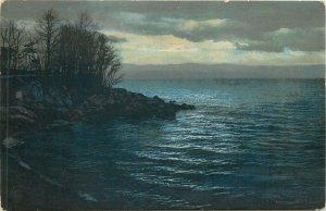 Photochrom early postcard landscape rural life tree seaside water sea