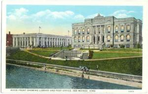 River Front showing  Library & Post Office, Des Moines, Iowa, IA, White Border