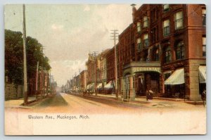 Muskegon Michigan~Western Avenue~Occidental Hotel~Stores~Cigars~1909 Rotograph