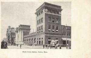 North Union Station BOSTON, MA Street Scene, Depot c1900s Vintage Postcard