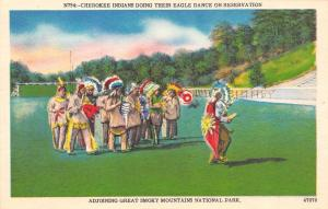 NC, North Carolina  CHEROKEE INDIAN RESERVATION Eagle Dancers   c1940's Postcard