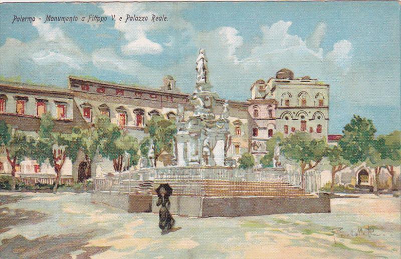 Monumento A Filippo V e Palazzo Reale, Palermo (Sicily), Italy, 1900-1910s