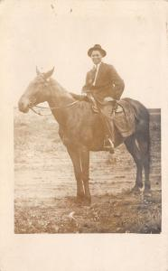 Real Photo Postcard~Smiling Brother Ernst on Saddled Horse~Suit & Hat~1912 RPPC