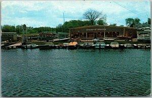 Lansing, Michigan Postcard GRAND-R-MARINA Boat Docks Scene 1967 Cancel