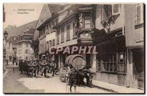 Postcard Old Grand Rue Ribeauville Army Soldiers hairy