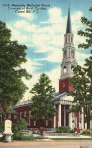 Chapel Hill, NC, UNC Methodist Church, 1944 Linen Vintage Postcard g8546